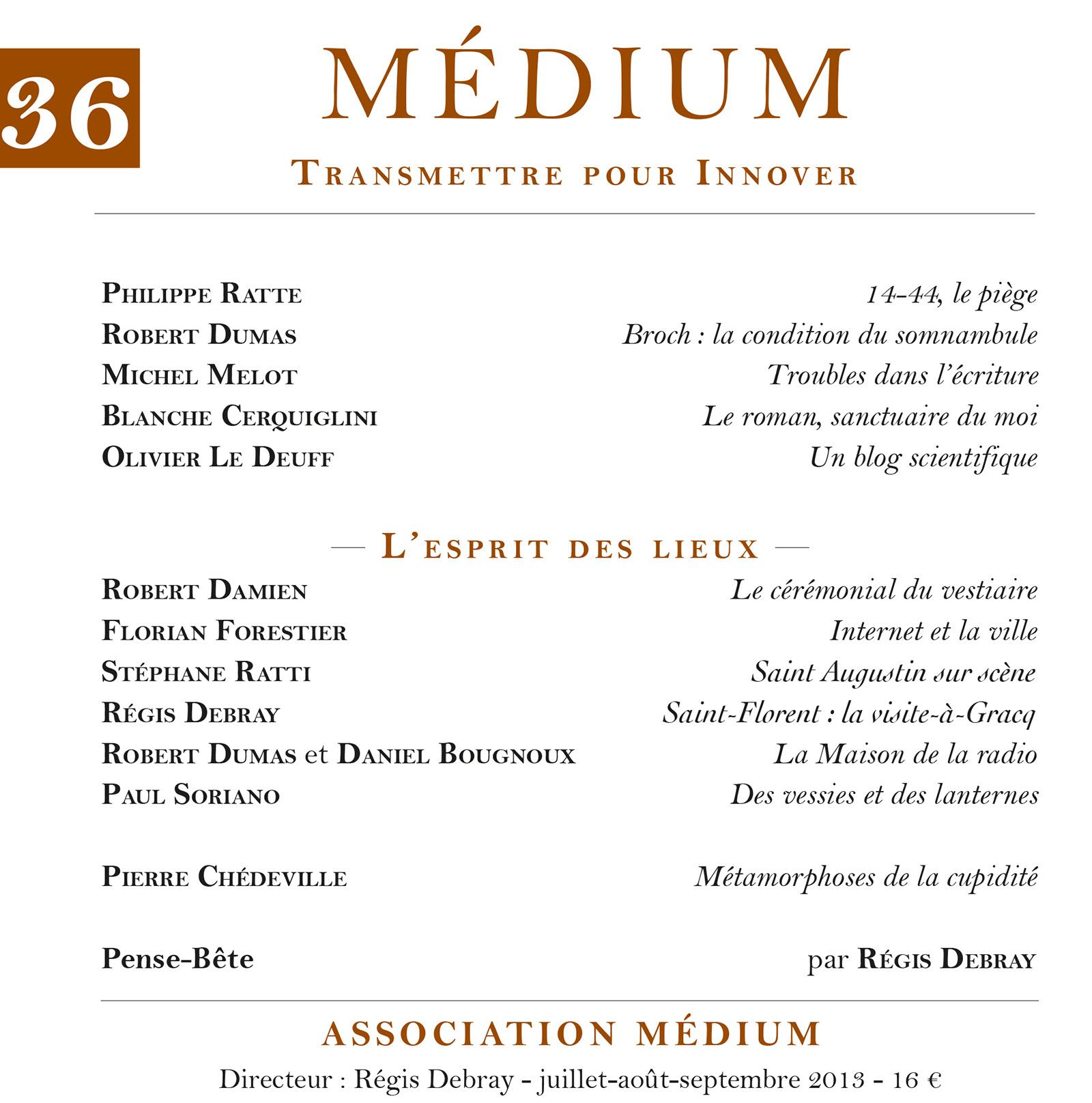 L'esprit des lieux (Médium n°36, juillet-septembre 2013)