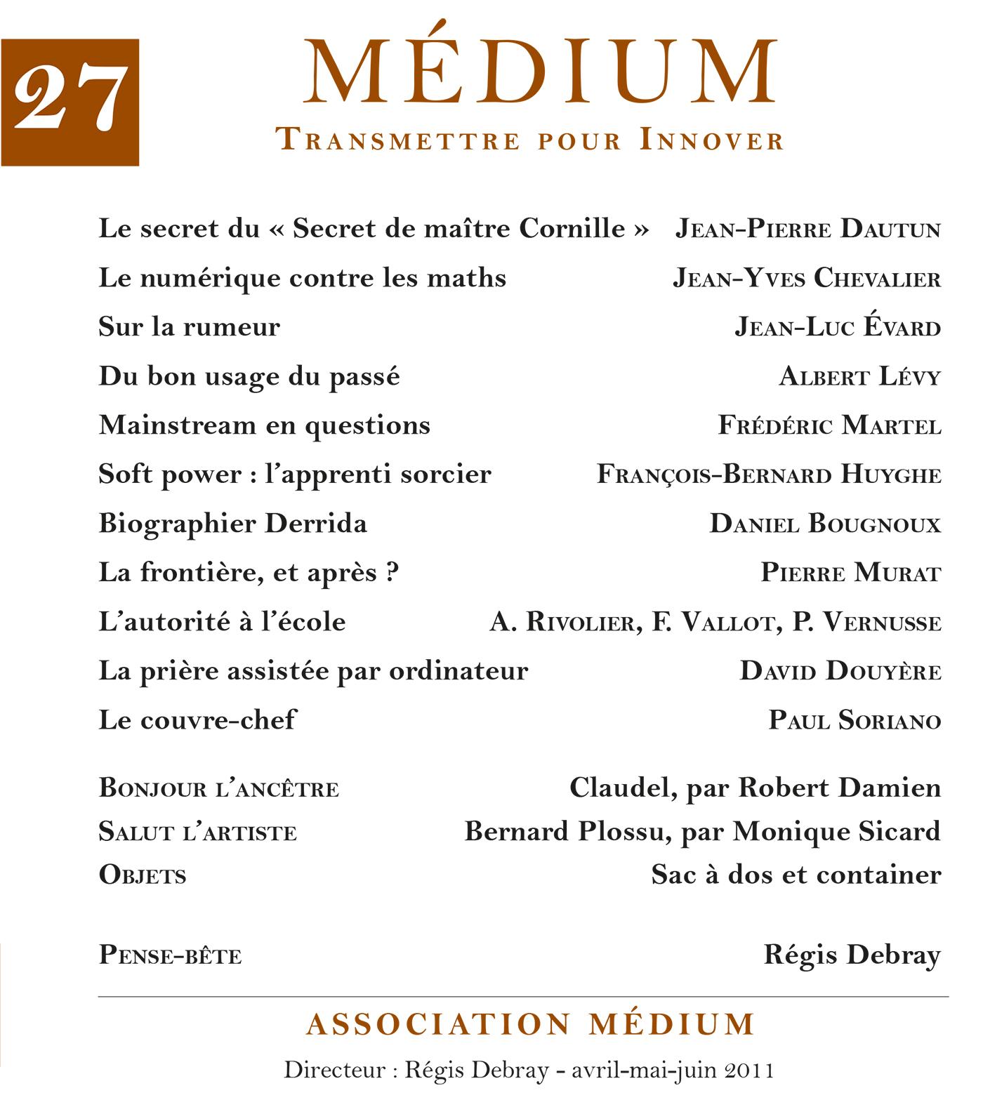 Médium n°27, avril-juin 2011