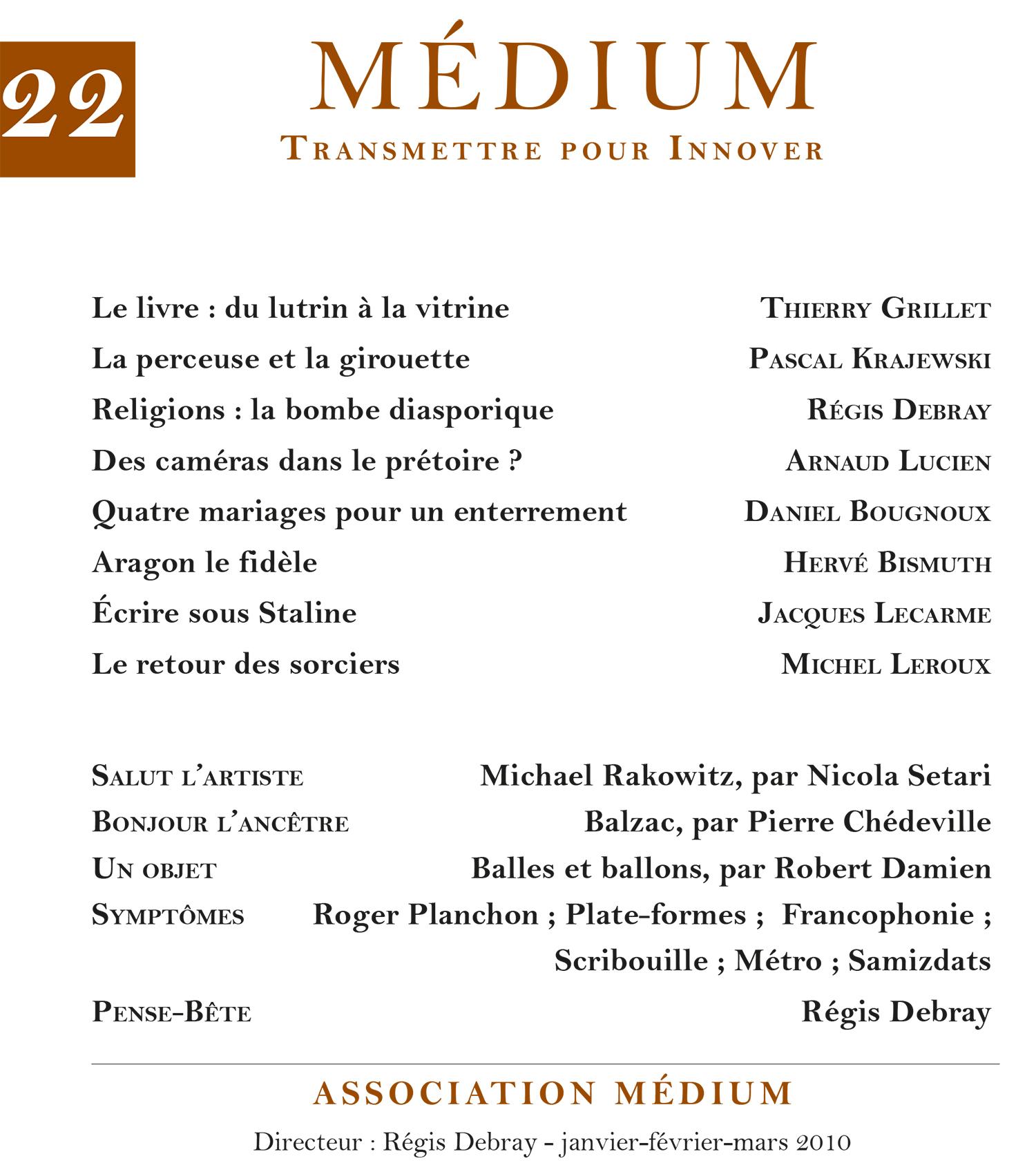 Médium n°22, janvier-mars 2010
