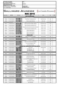 Gallimard Jeunesse MAI 2016
