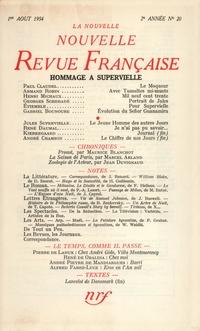 La Nouvelle Nouvelle Revue Française N' 20 (Aoűt 1954)