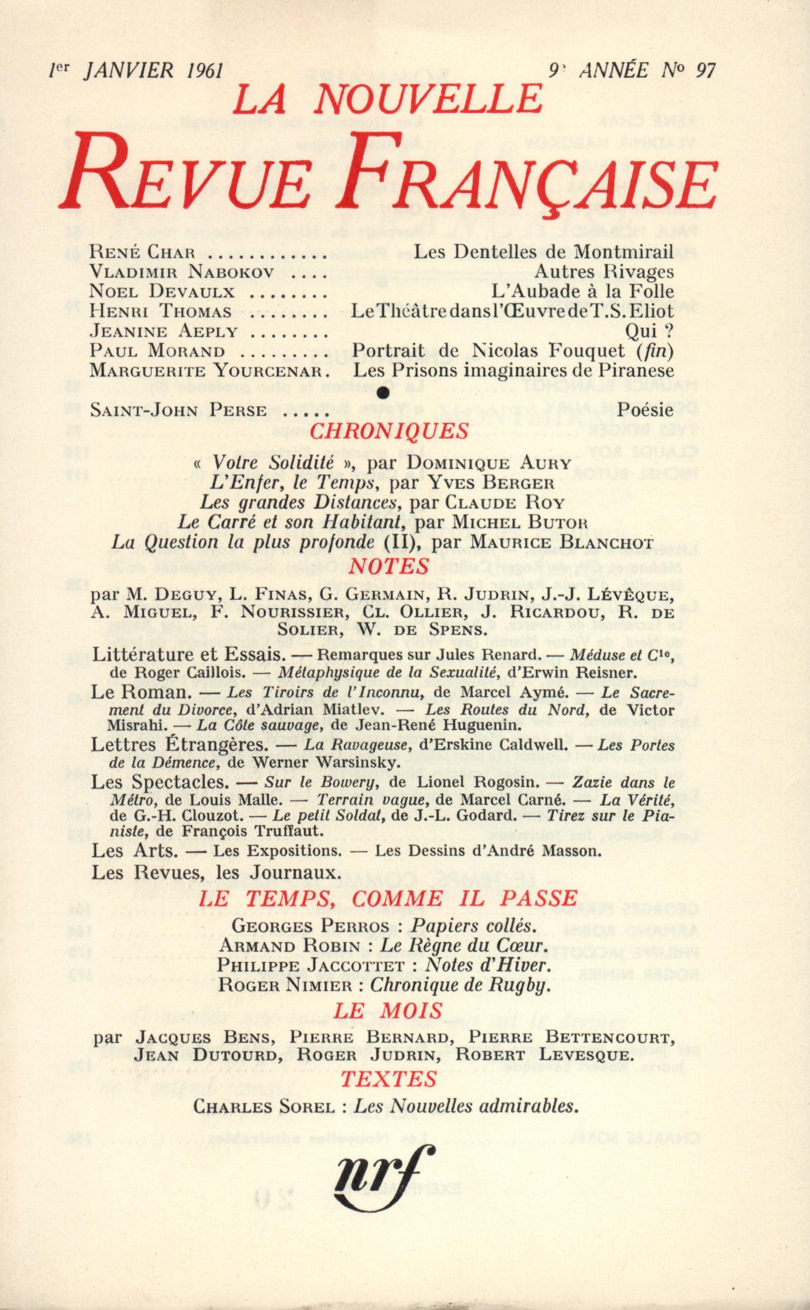 La Nouvelle Revue Française N' 97 (Janvier 1961)
