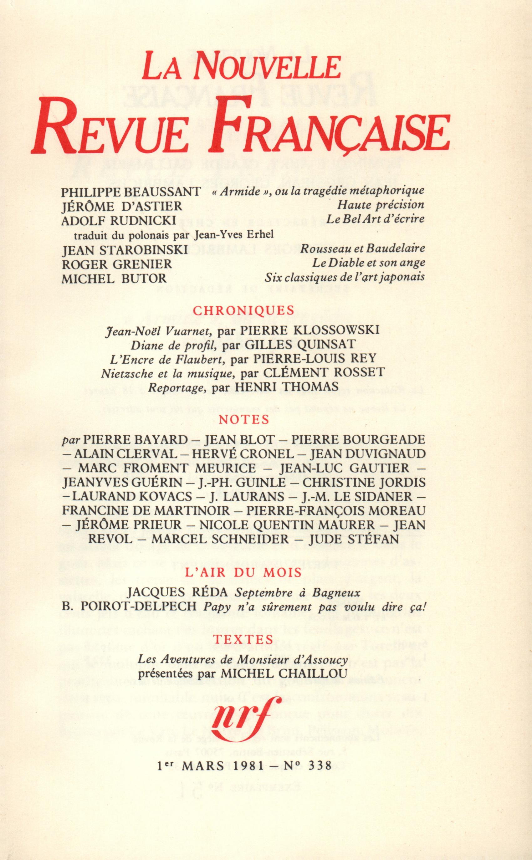 La Nouvelle Revue Française N° 338