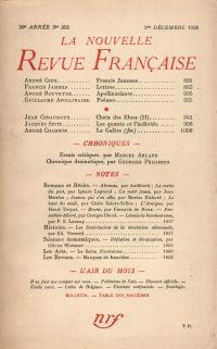 La Nouvelle Revue Française N' 303 (Décembre 1938)