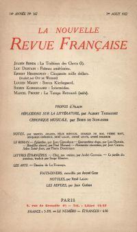 La Nouvelle Revue Française N' 167 (Aoűt 1927)