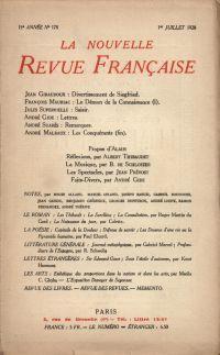 La Nouvelle Revue Française N' 178 (Juillet 1928)