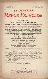 La Nouvelle Revue Française N' 158 (Novembre 1926)