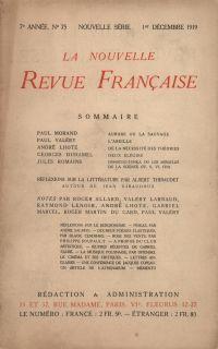 La Nouvelle Revue Française N' 75 (Décembre 1919)