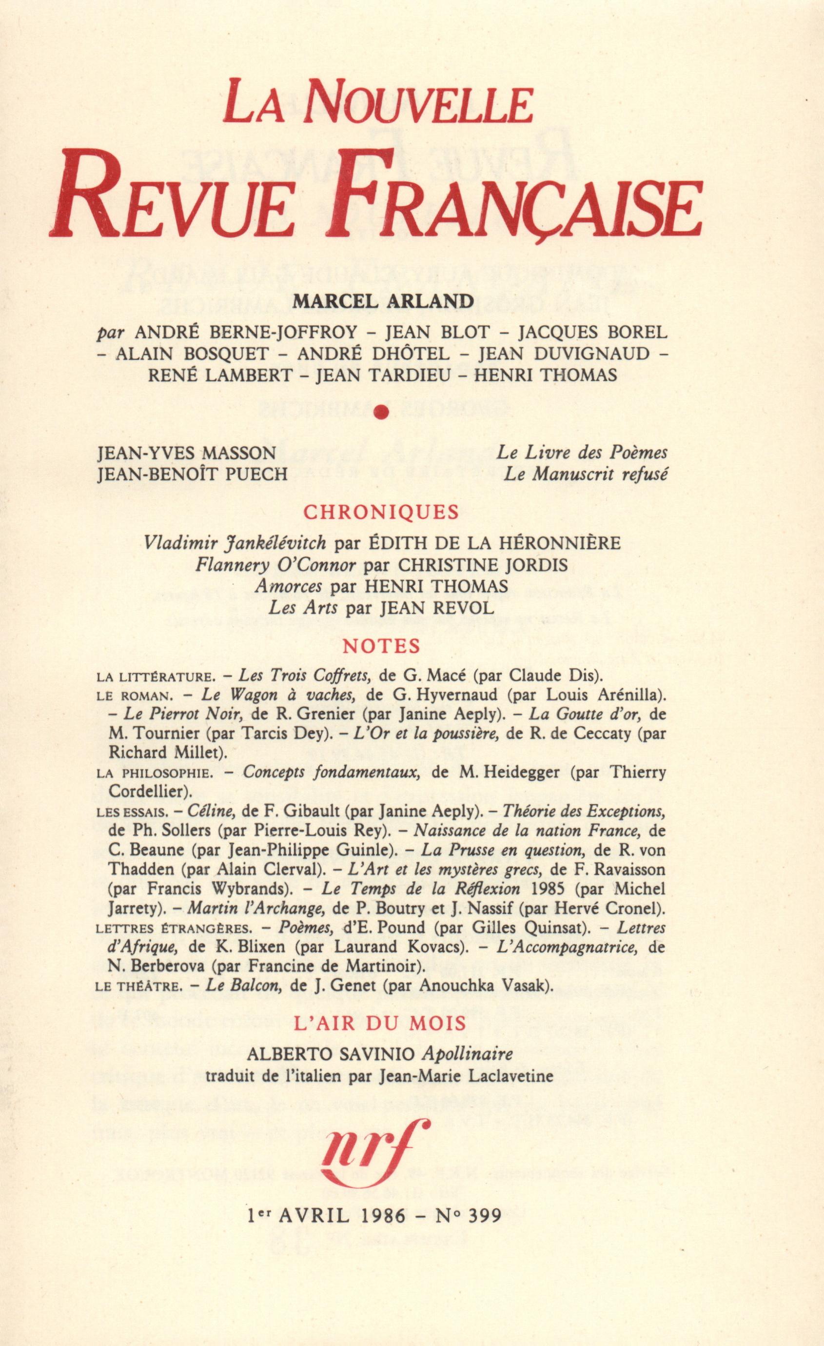 La Nouvelle Revue Française N° 399