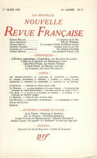 La Nouvelle Nouvelle Revue Française N' 3 (Mars 1953)