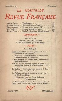 La Nouvelle Revue Française N' 185 (Février 1929)