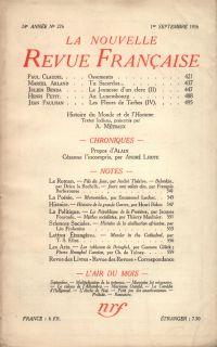 La Nouvelle Revue Française N° 276 (Septembre 1936)
