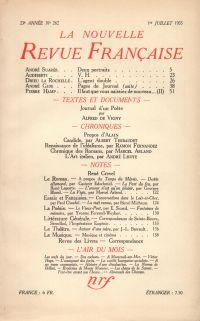 La Nouvelle Revue Française N° 262 (Juillet 1935)