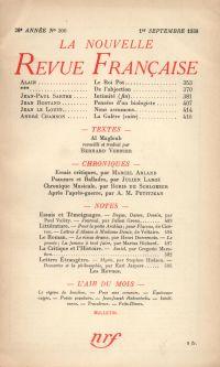 La Nouvelle Revue Française N° 300 (Septembre 1938)