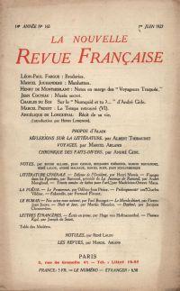 La Nouvelle Revue Française N' 165 (Juin 1927)