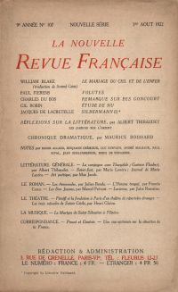 La Nouvelle Revue Française N° 107 (Août 1922)