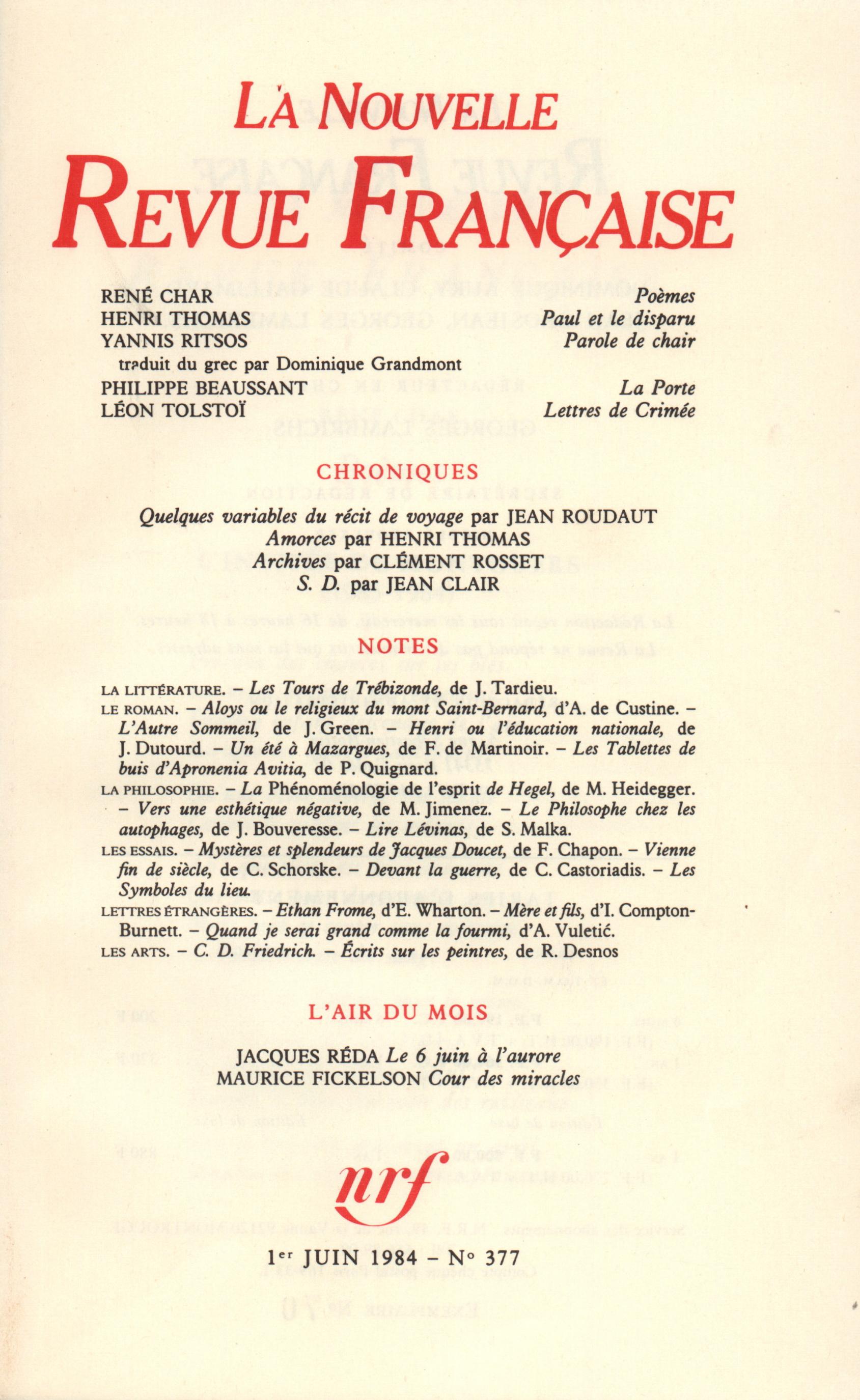 La Nouvelle Revue Française N° 377