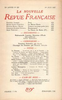 La Nouvelle Revue Française N° 285 (Juin 1937)