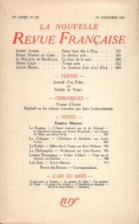 La Nouvelle Revue Française N° 278 (Novembre 1936)