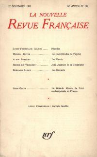 La Nouvelle Revue Française N' 192 (Décembre 1968)