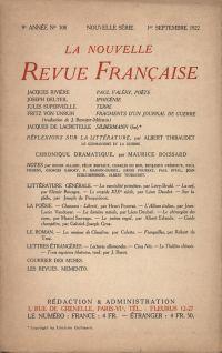 La Nouvelle Revue Française N' 108 (Septembre 1922)