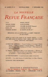La Nouvelle Revue Française N' 111 (Décembre 1922)