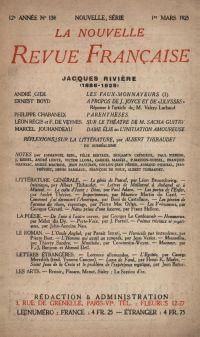 La Nouvelle Revue Française N' 138 (Mars 1925)