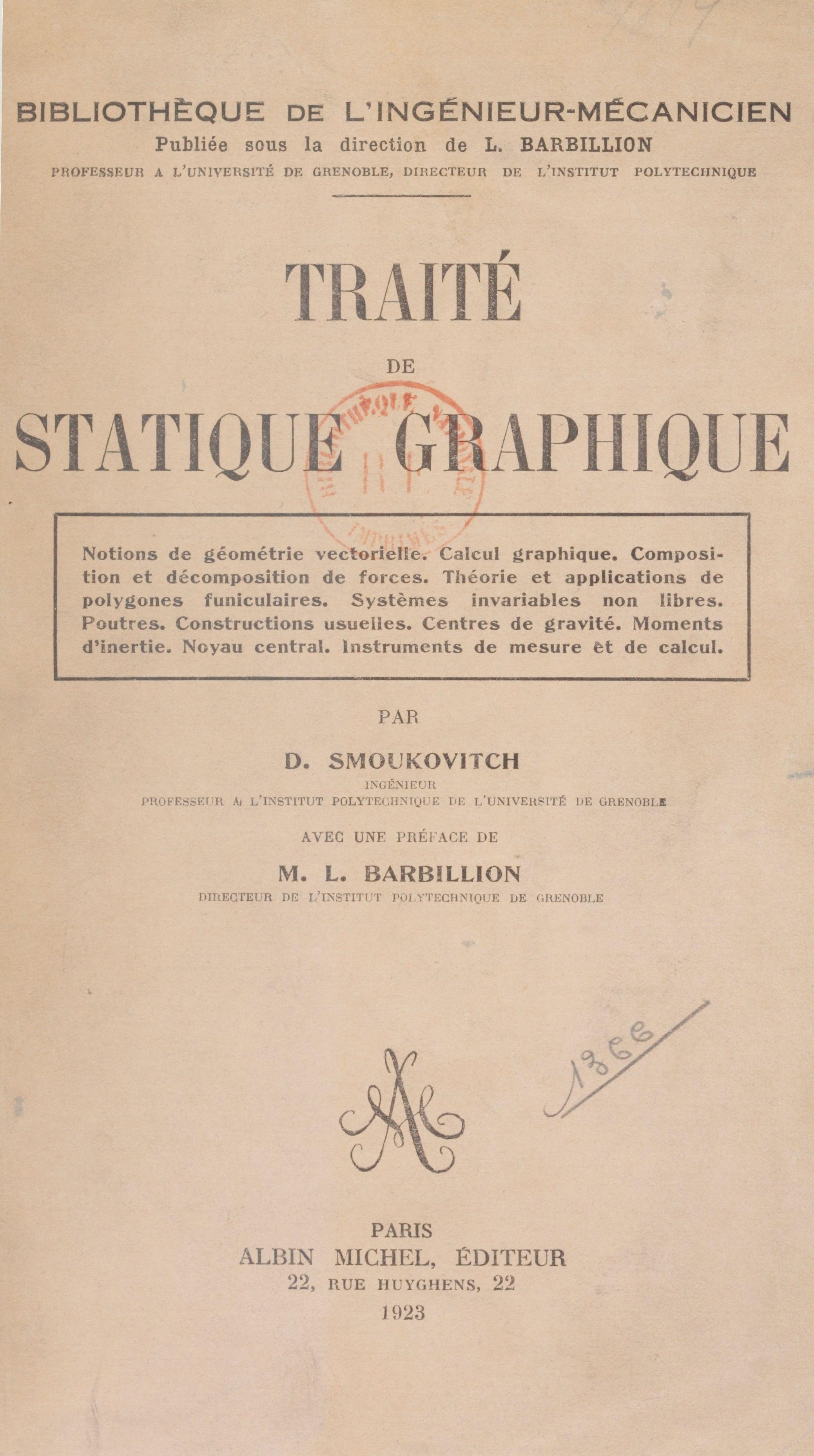Traité de statique graphique