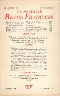 La Nouvelle Revue Française N° 289 (Octobre 1937)