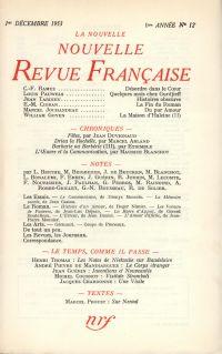 La Nouvelle Nouvelle Revue Française N' 12 (Décembre 1953)
