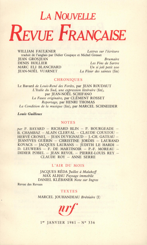 La Nouvelle Revue Française N° 336