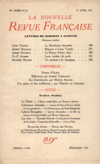 La Nouvelle Revue Française N' 211 (Avril 1931)