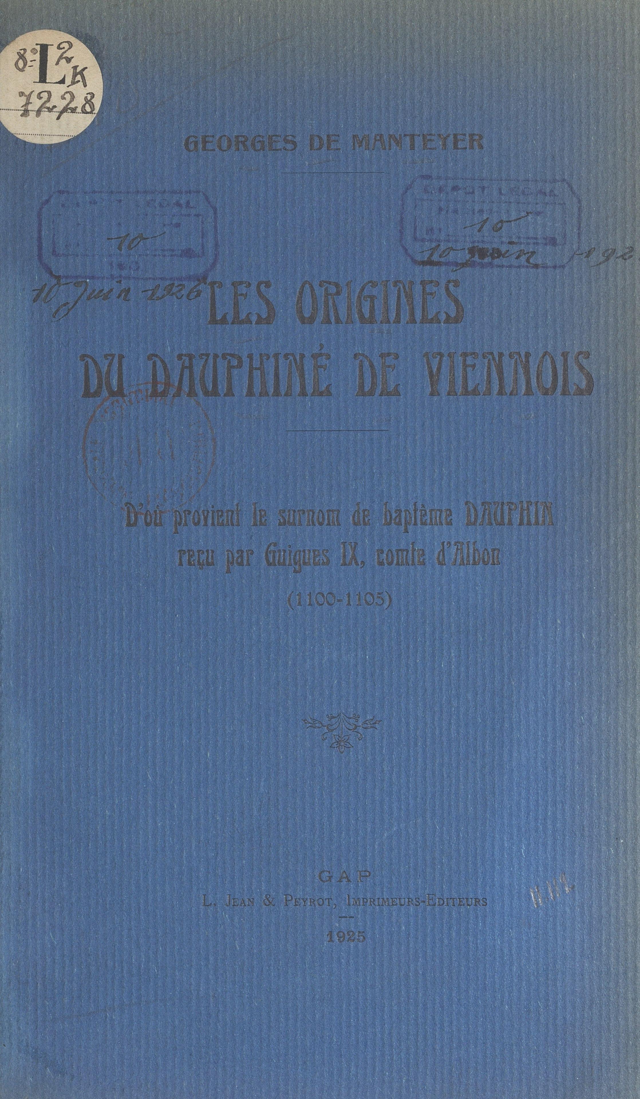 Les origines du Dauphiné de...