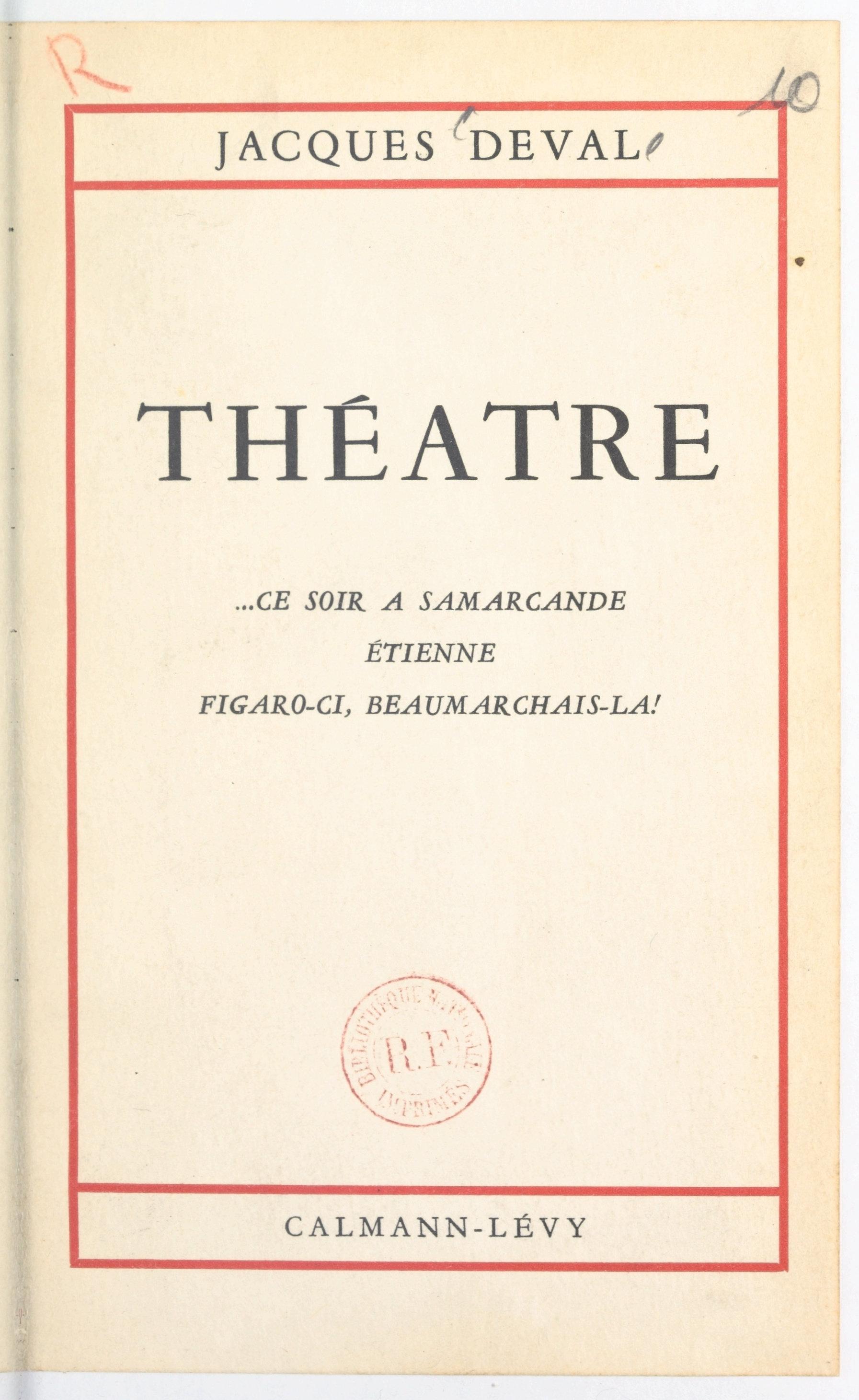 Théâtre de Jacques Deval