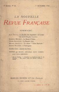 La Nouvelle Revue Française N' 22 (Octobre 1910)