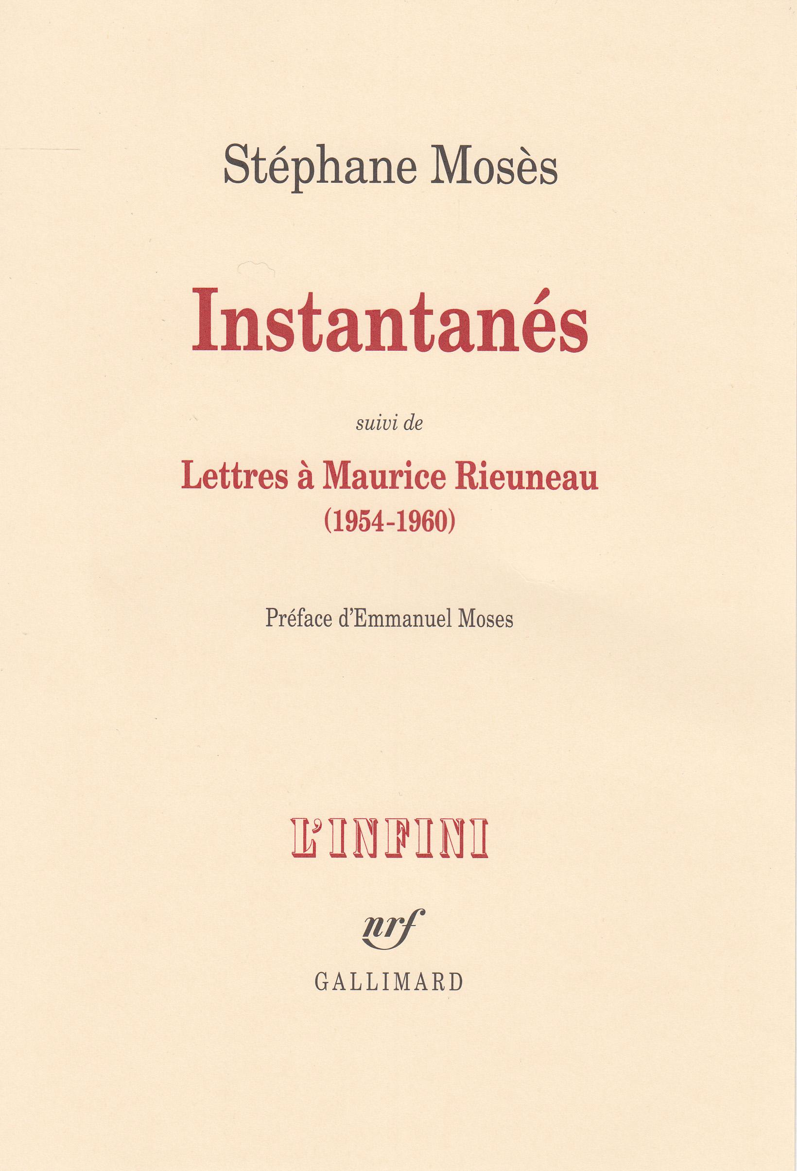 Instantanés/Lettres à Maurice Rieuneau (1954-1960)