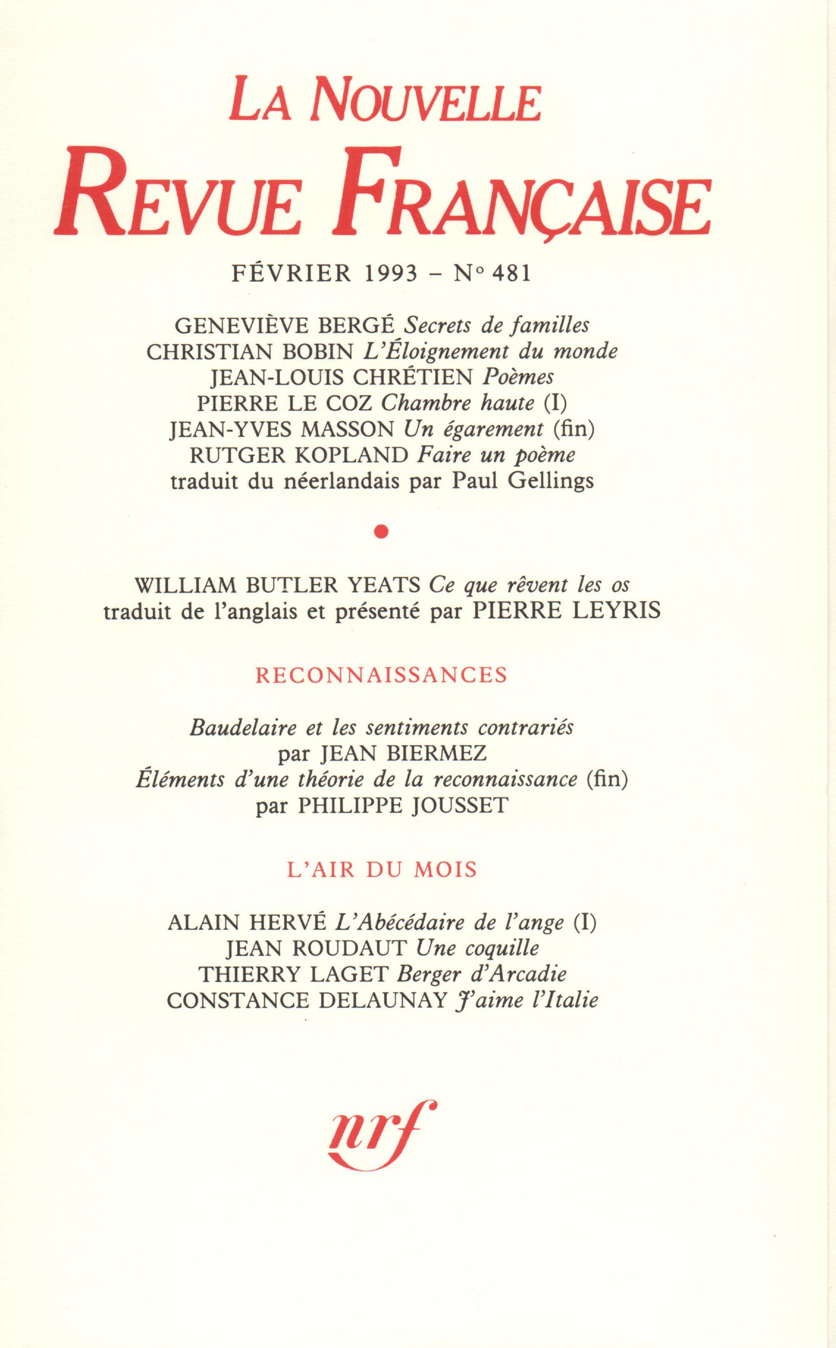La Nouvelle Revue Française N° 481