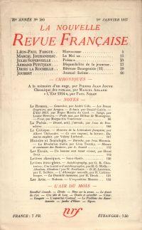 La Nouvelle Revue Française N° 280 (Janvier 1937)