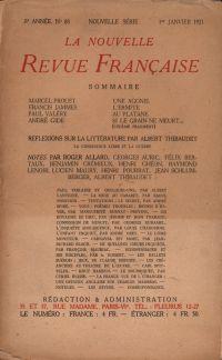 La Nouvelle Revue Française N' 88 (Janvier 1921)