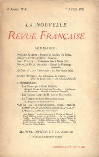 La Nouvelle Revue Française N' 40 (Avril 1912)