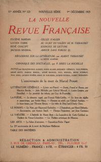 La Nouvelle Revue Française N' 123 (Décembre 1923)
