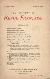 La Nouvelle Revue Française N' 63 (Mars 1914)
