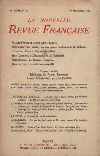La Nouvelle Revue Française N' 182 (Novembre 1928)