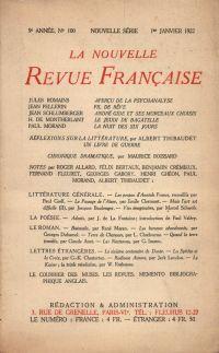 La Nouvelle Revue Française N° 100 (Janvier 1922)