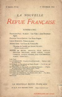 La Nouvelle Revue Française N' 62 (Février 1914)