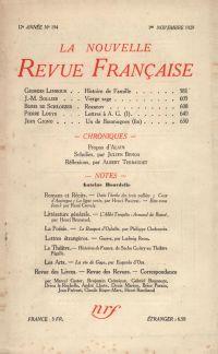 La Nouvelle Revue Française N' 194 (Novembre 1929)