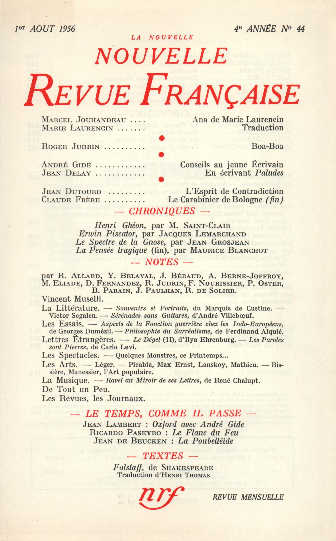 La Nouvelle Nouvelle Revue Française N' 44 (Ao?t 1956)
