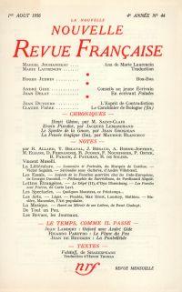 La Nouvelle Nouvelle Revue Française N' 44 (Aoűt 1956)