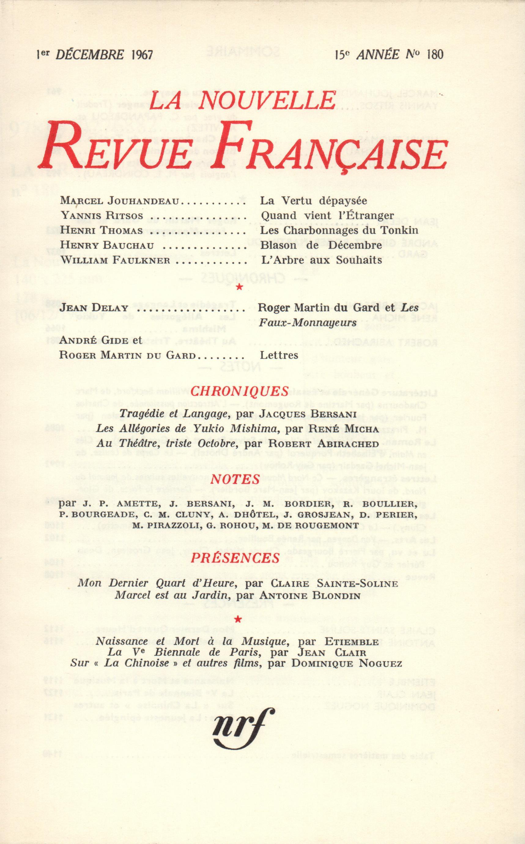 La Nouvelle Revue Française N' 180 (Décembre 1967)