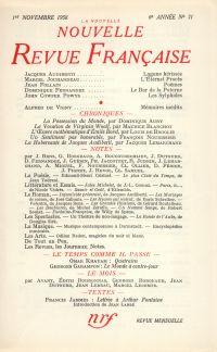 La Nouvelle Nouvelle Revue Française N' 71 (Novembre 1958)